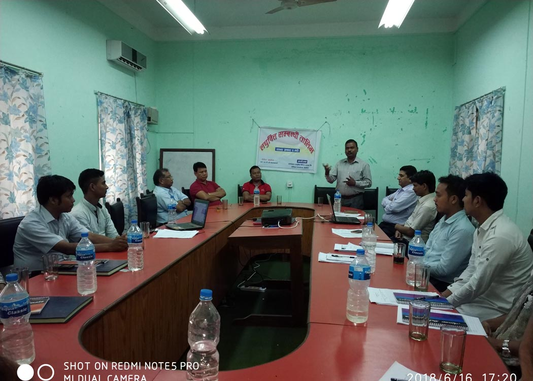 Chairperson directing at skill building program at dhangadhi